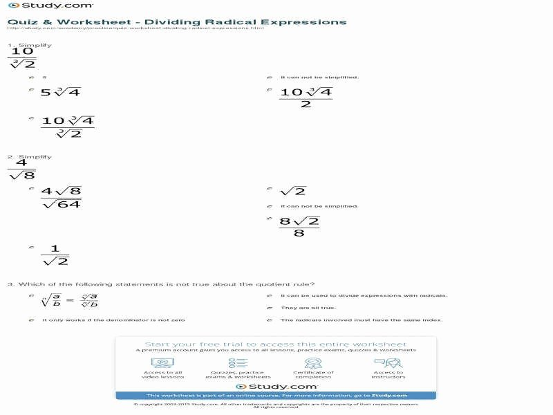 Multiplying Radical Expressions Worksheet Awesome Multiplying and Dividing Radicals Worksheet