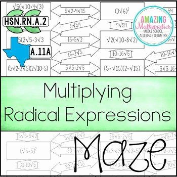Multiplying Radical Expressions Worksheet Best Of Operations with Radical Expressions Maze Multiplying