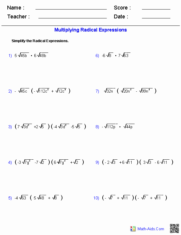 Multiplying Radical Expressions Worksheet Elegant Algebra 1 Worksheets