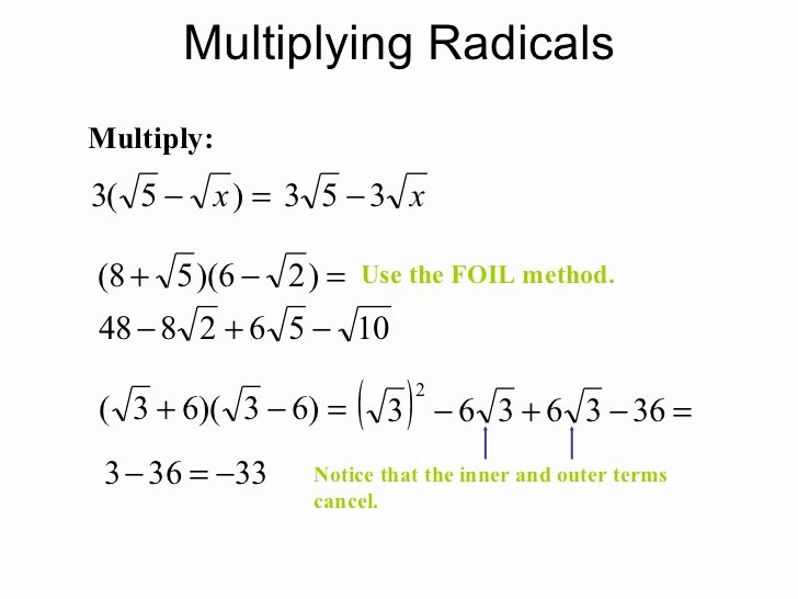 Multiplying Radical Expressions Worksheet Inspirational Adding Subtracting Multiplying and Dividing Radicals