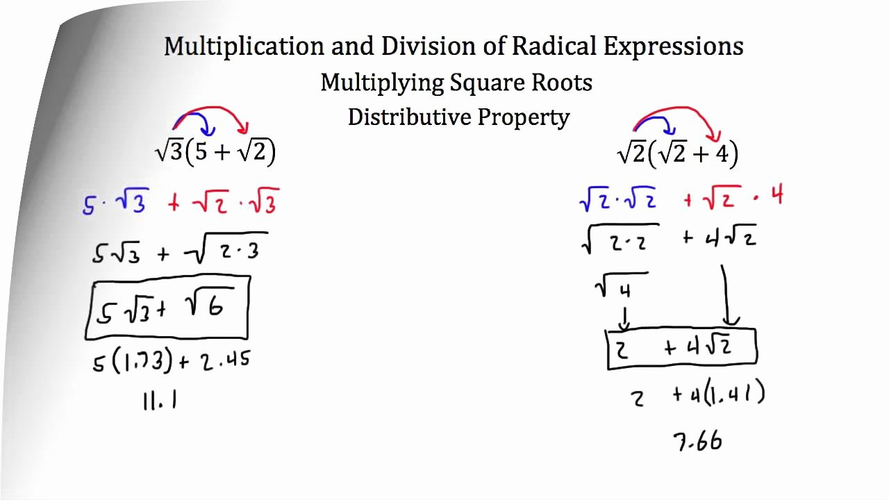 Multiplying Radical Expressions Worksheet New Operations with Radical Expressions Multiplication and