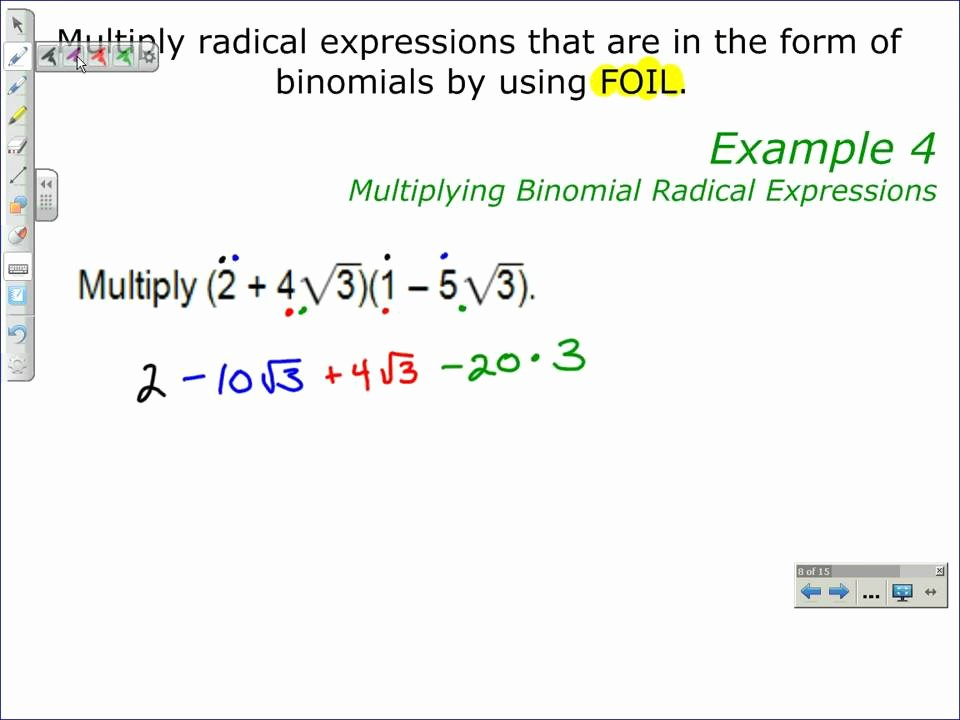 Multiplying Radical Expressions Worksheet Unique Multiplying Binomial Radical Expressions