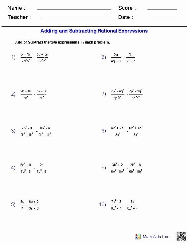Multiplying Rational Expression Worksheet Beautiful Adding and Subtracting Rational Expressions Worksheets