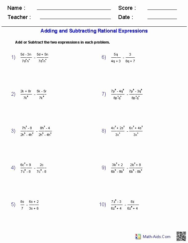Multiplying Rational Expressions Worksheet Elegant Adding and Subtracting Rational Expressions Worksheets