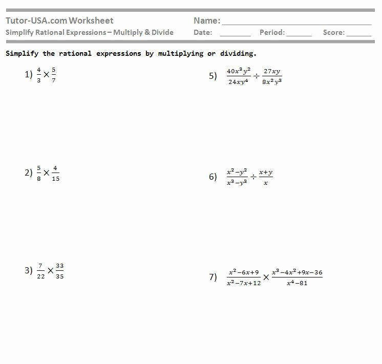 Multiplying Rational Expressions Worksheet Fresh Multiplying and Dividing Rational Expressions Worksheet