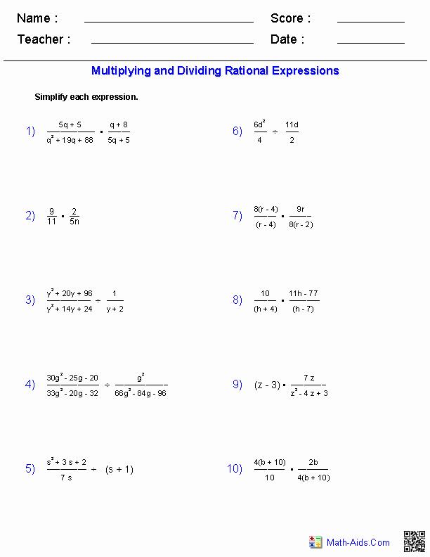 Multiplying Rational Expressions Worksheet Inspirational Algebra 2 Worksheets