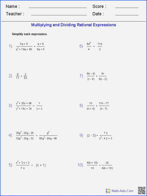 Multiplying Rational Expressions Worksheet Unique Multiplying Monomials Worksheet