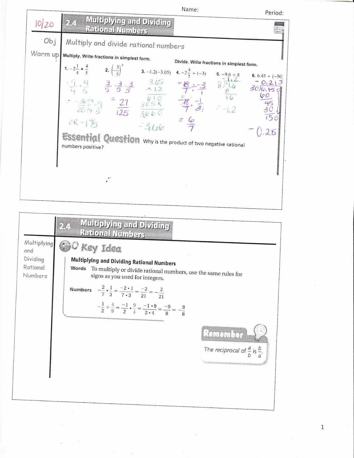 Multiplying Rational Numbers Worksheet Fresh Ms Jean S Classroom Blog Math 7 2 4 Multiplying and
