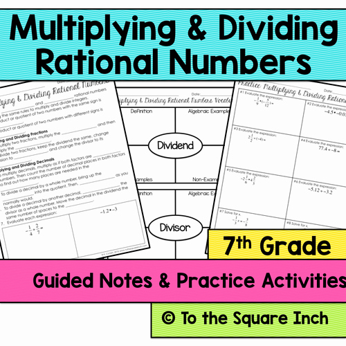 Multiplying Rational Numbers Worksheet New Multiplying and Dividing Rational Numbers Notes by