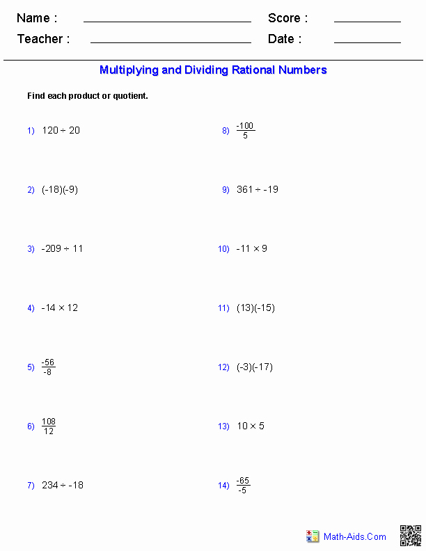 Multiplying Rational Numbers Worksheet Unique Algebra 1 Worksheets