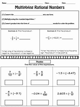 Multiplying Rational Numbers Worksheet Unique Multiplying Rational Numbers Notes by Route 22 Educational