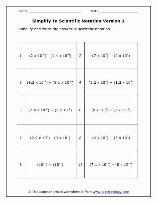 Multiplying Scientific Notation Worksheet Beautiful Operations with Scientific Notation Worksheet