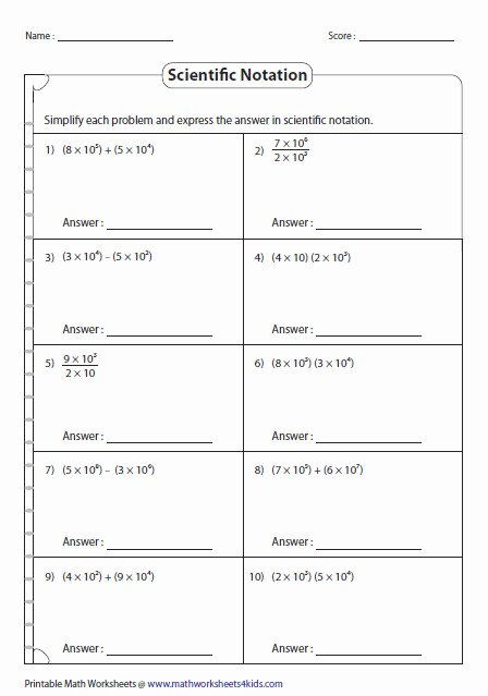 Multiplying Scientific Notation Worksheet Fresh Multiplying and Dividing Scientific Notation Worksheet
