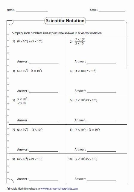 Multiplying Scientific Notation Worksheet Fresh Multiplying and Dividing Scientific Notation Worksheet
