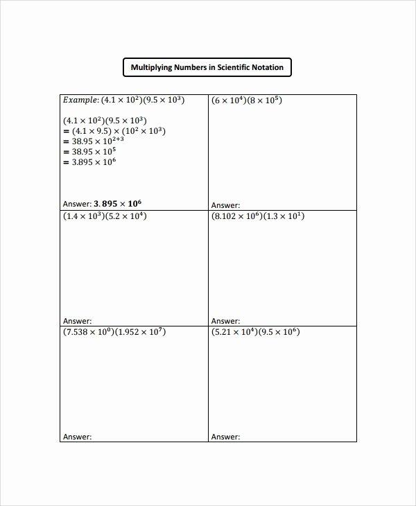 Multiplying Scientific Notation Worksheet Fresh Sample Scientific Notation Worksheet 9 Free Documents