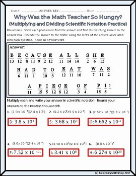 Multiplying Scientific Notation Worksheet Lovely Algebra Scientific Notation Multiplying Dividing Riddle