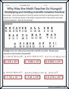 Multiplying Scientific Notation Worksheet Lovely Algebra Scientific Notation Multiplying Dividing Riddle