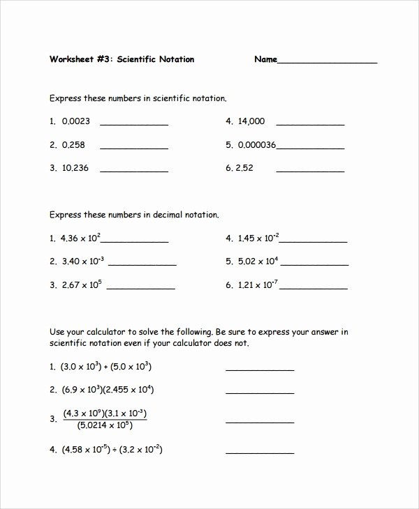 Multiplying Scientific Notation Worksheet Lovely Sample Scientific Notation Worksheet 9 Free Documents