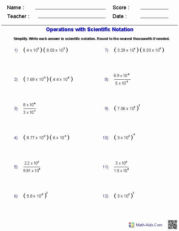 Multiplying Scientific Notation Worksheet Luxury Multiplying and Dividing Scientific Notation Worksheet