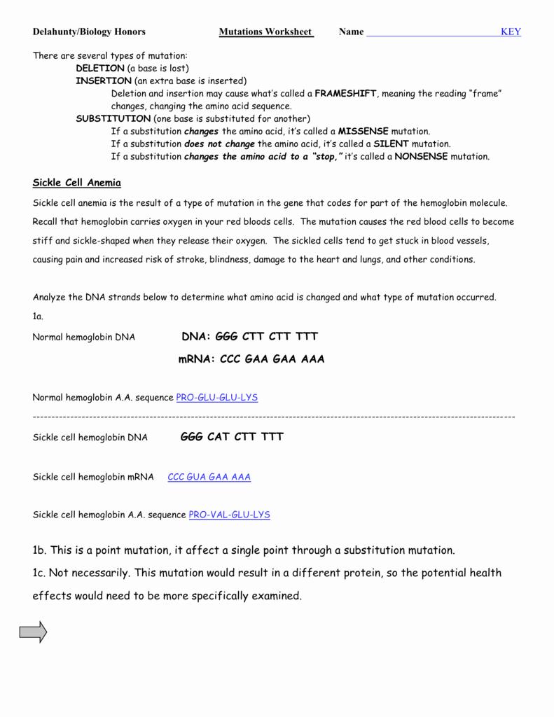 Mutations Worksheet Answer Key Best Of Worksheet Types Mutations Worksheet Grass Fedjp