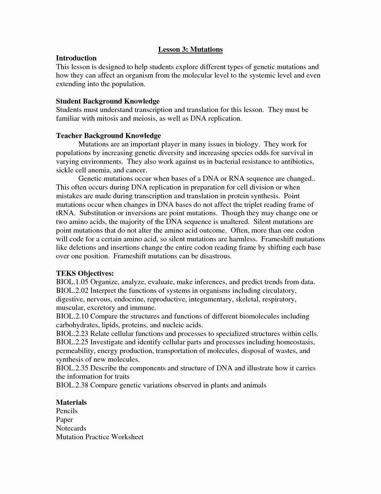 Mutations Worksheet Answer Key Fresh 17 Best Of Dna Mutations Practice Worksheet Page 2