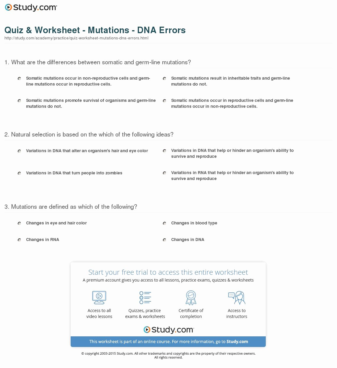 Mutations Worksheet Answer Key Inspirational Quiz & Worksheet Mutations Dna Errors