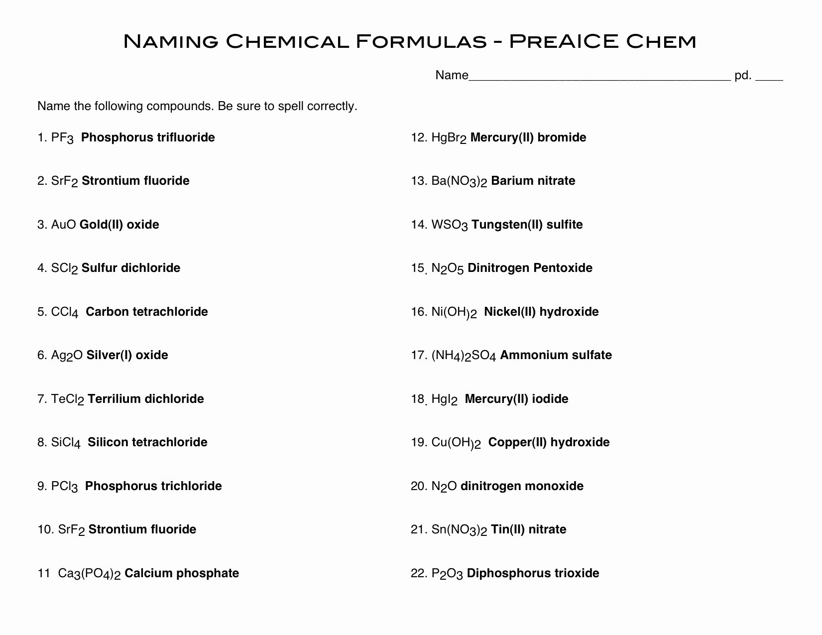 Naming Binary Ionic Compounds Worksheet Best Of 15 Best Of Naming Pounds Worksheet Key