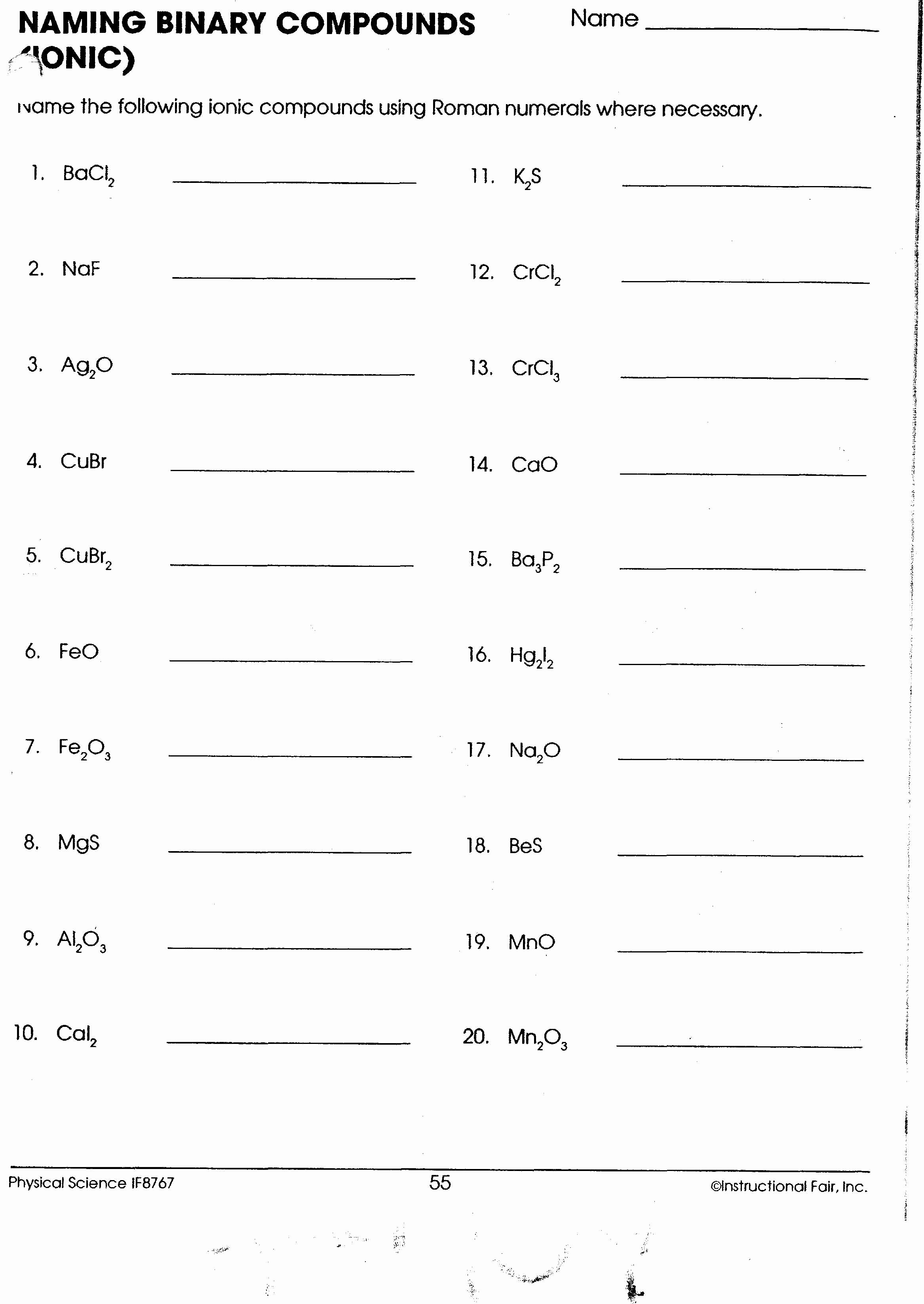 Naming Binary Ionic Compounds Worksheet Luxury Writing Chemical formulas for Covalent Pounds Worksheet