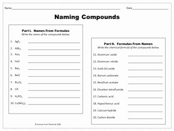 Naming Compounds Practice Worksheet Elegant Naming Pounds Worksheet for Review or assessment by