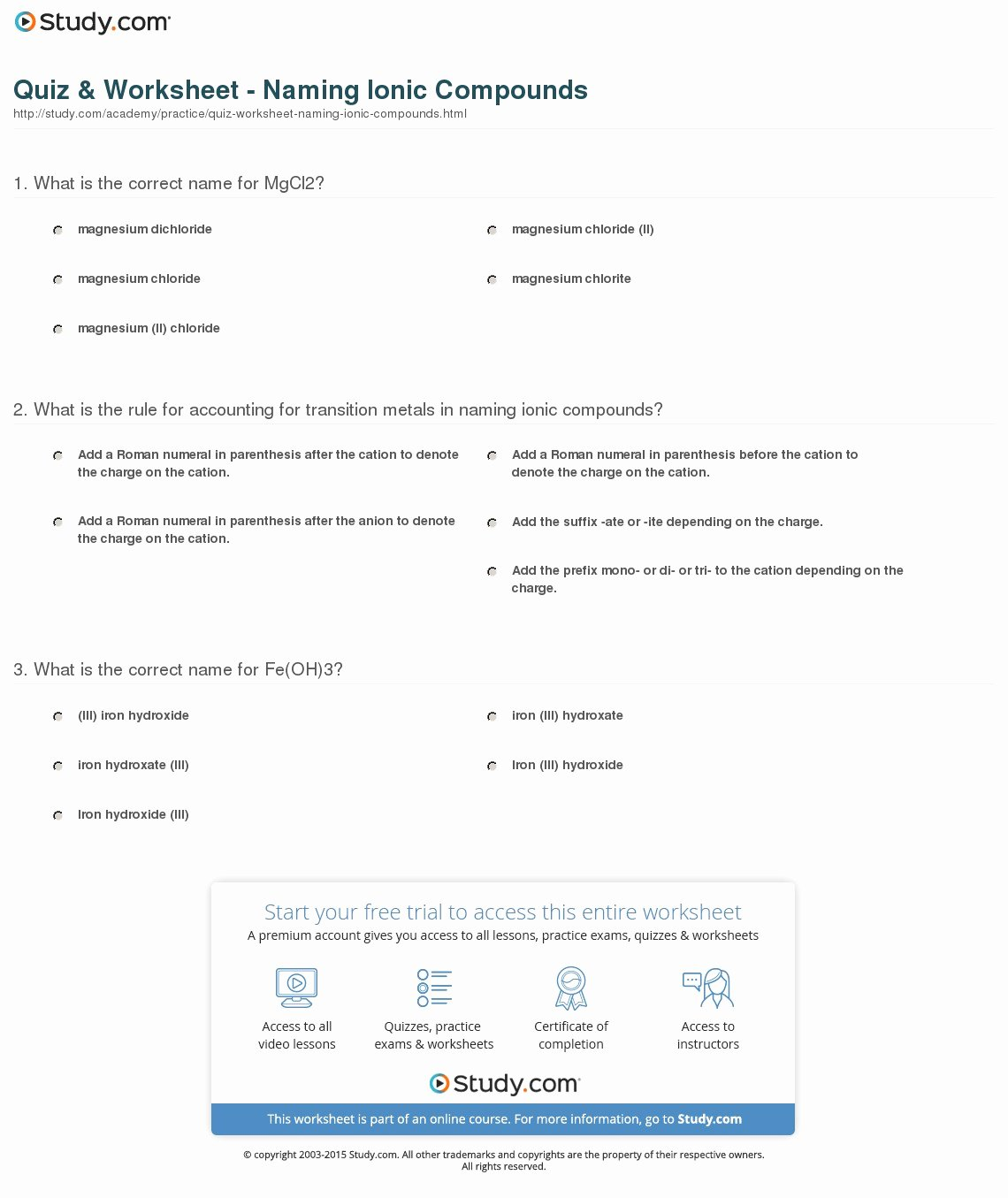Naming Ionic Compounds Worksheet Answers Best Of Quiz & Worksheet Naming Ionic Pounds