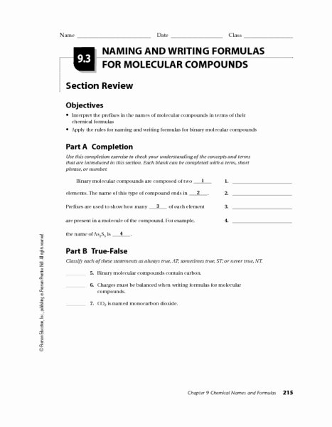Naming Molecular Compounds Worksheet Awesome Naming and Writing formulas for Molecular Pounds