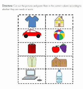 Needs and Wants Worksheet Awesome Needs and Wants Picture sort and Writing Sheets for