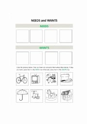 Needs and Wants Worksheet Beautiful English Worksheets Needs and Wants