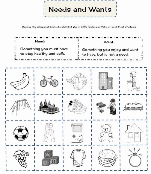 Needs and Wants Worksheet Beautiful Tchrgrl Economics