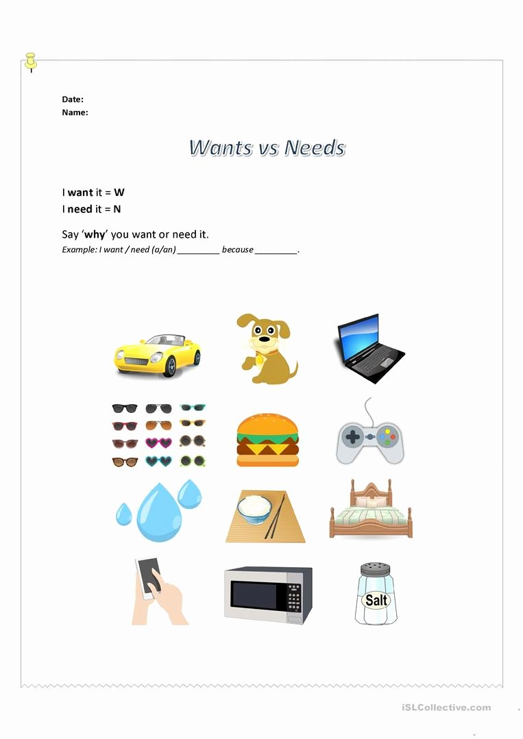 Needs and Wants Worksheet Best Of Speaking Activity Wants Vs Needs Worksheet Free Esl