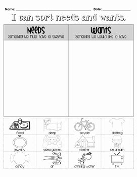 Needs and Wants Worksheet Fresh Needs & Wants sort by Lauren Gregory