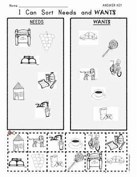 Needs and Wants Worksheet Inspirational I Can sort Needs and Wants Picture Worksheet