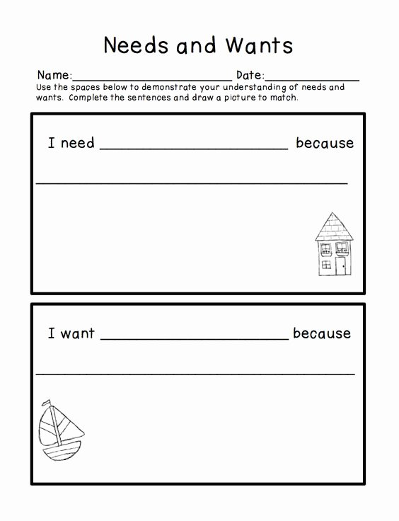 Needs and Wants Worksheet Luxury Needs and Wants Freebie