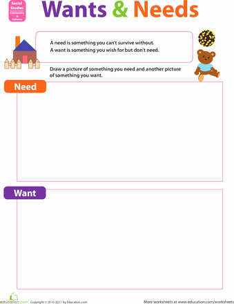 Needs and Wants Worksheet Unique Wants and Needs Kindergarten social Stu S