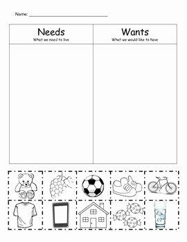 Needs Vs Wants Worksheet Elegant Needs Vs Wants sort by Bethany Hayes