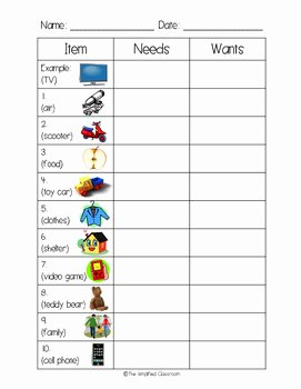 Needs Vs Wants Worksheet Fresh Needs Vs Wants Color In Worksheet and Anchor Chart