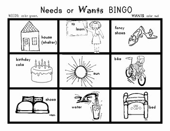 Needs Vs Wants Worksheet Lovely Needs and Wants Bingo Game social Stu S for