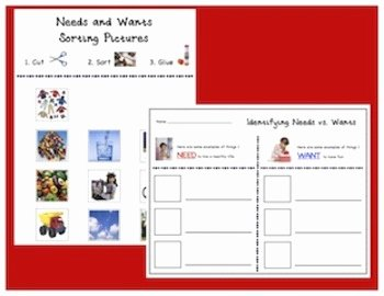 Needs Vs Wants Worksheet Unique Needs Vs Wants by Krafty Kim