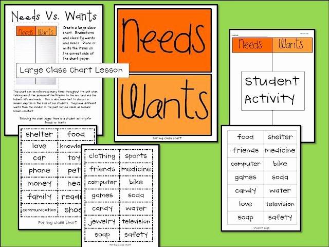 Needs Vs Wants Worksheet Unique Needs Vs Wants whole Group Activity