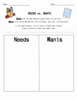 Needs Vs Wants Worksheet Unique Printables Of Wants and Needs Worksheet 1st Grade