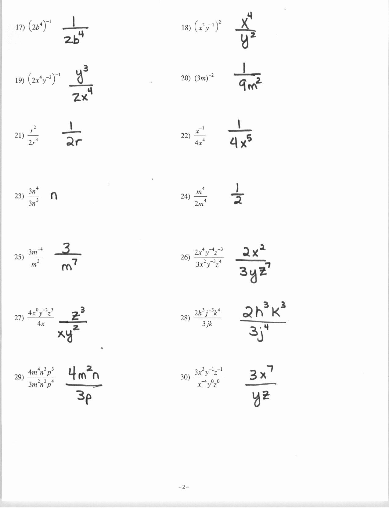 Negative Exponents Worksheet Pdf Awesome Exponents Worksheet Grade 7 Pdf