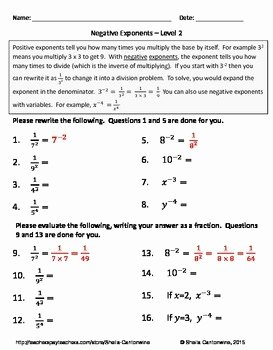 Negative Exponents Worksheet Pdf Beautiful Negative Exponents Differentiated Worksheets by Sheila