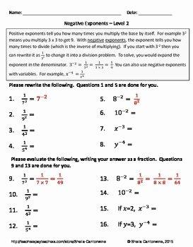 Negative Exponents Worksheet Pdf Beautiful Negative Exponents Differentiated Worksheets by Sheila