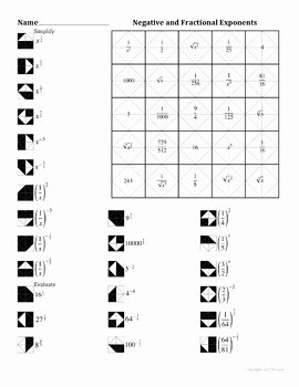 Negative Exponents Worksheet Pdf Best Of Negative and Fractional Exponents Color Worksheet by Aric