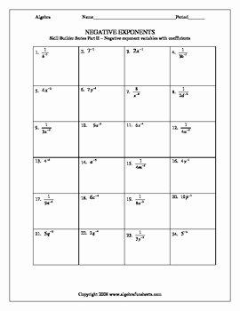 Negative Exponents Worksheet Pdf Elegant Laws Of Exponents Negative Exponents Skillbuilder